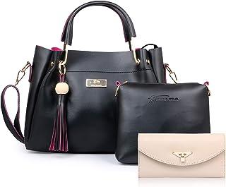 JFC Girls' & Women's Handbag (Set of 3) (ST-004BCLUTCH_Black)