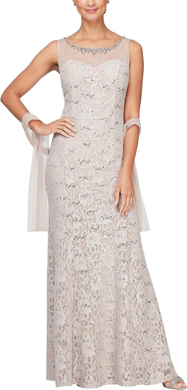 Alex Evenings Women's Long Sleeveless Dress with Shawl