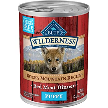 Blue Buffalo Wilderness Rocky Mountain Recipe High Protein Grain Free, Natural Puppy Wet Dog Food, Red Meat 12.5-oz cans (Pack of 12)