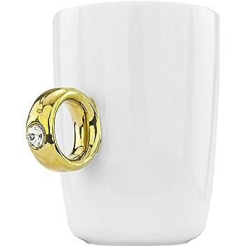 Fairly Odd Novelties Engagement 2 Carat Solitaire Ring Novelty Gag Gift Mug, Gold