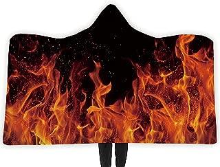 RAISEVERN Wearable Hooded Blanket Hood Poncho Cloak Cape Funny 3D Colorful Flame Print Men Women Cozy Throw Sherpa Fleece Soft Warm Winter Novelty Blanket for Adults 60X80 Inch