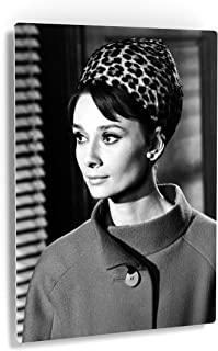 Smile Art Design Audrey Hepburn Wearing Bandana Metal Print Iconic Bedroom Living Room Wall Decor Artwork Black and White Wall Art Vintage Home Decor Ready to Hang Made in USA 30x20
