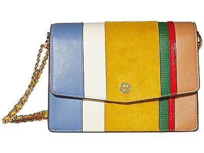 Tory Burch Robinson Balloon Stripe Convertible Shoulder Bag (New Ivory/Bluewood/Goldfinch) Handbags