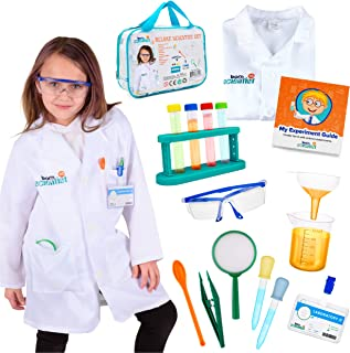 Born Toys 15 Piece Lab Coat for Kids Witch Science kit and lab Goggles Full Scientist Costume for Kids Ages 5-10 for Real ...