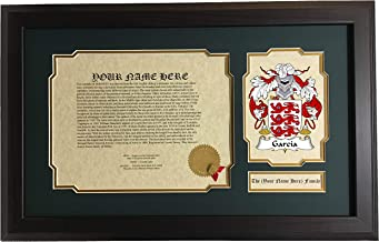 García - Coat of Arms and Last Name History, 14x22 Inches Matted and Framed