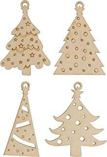 Unfinished Wooden Christmas Ornaments - 24-Pack Paintable Blank Xmas Tree Hanging Wood Slices for Kids DIY Art Crafts, Festive Decoration, 4 Assorted Christmas Tree Designs, 3.25 x 4.7 x 0.1 Inches