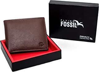 Flying Fossil Genuine Leather Hand-Crafted Bifold Wallet, Ultra Slim Wallet with 8 Card Slots, Coin pocket and 2 Currency Pockets for ID Card, Credit Card, Business Cards, Cash, FFW00003-4