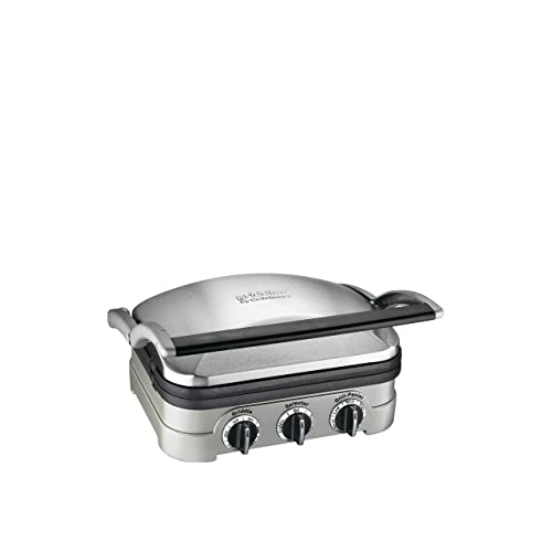 Cuisinart GR-4NP1 5-in-1 Griddler, 13.5 (L) x 11.5 (W) x 7.12 (H), Silver With Silver/Black Dials
