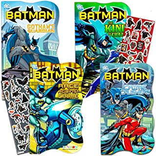 DC Comics Batman Shaped Board Book Set with Stickers (4 Books)