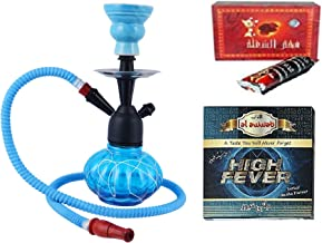 JaipurCrafts Combo of 12 Inch Glass, Iron Hookah, 10 Huojia Huangdi Xiyong Factory Shisha Charcoal Disk Hookah Flavour (Without Tobacco and Nicotine)