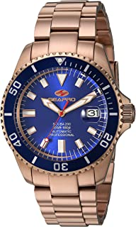 Seapro Men's Scuba 200 Automatic Stainless Steel Strap, Rose Gold, 22 Casual Watch (Model: SP4324)