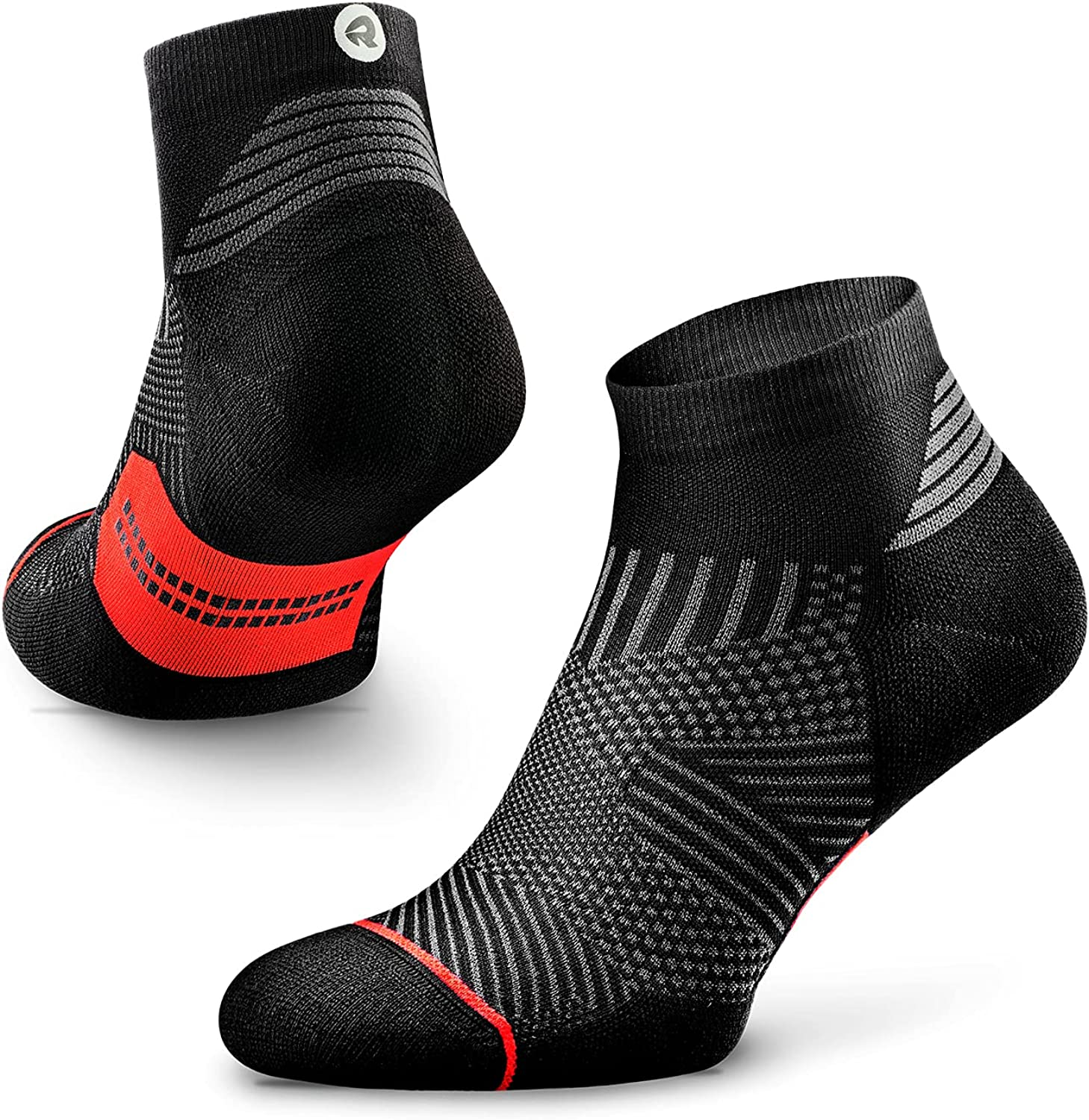 Rockay Max Cushion Flare Running Socks for Men and Women, Quarter Cut, Arch Support, 100% Recycled, Anti-Odor