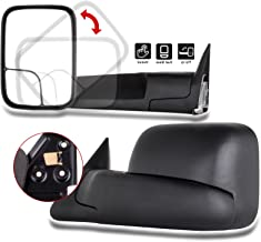 SCITOO Towing Mirrors Pair Set Manual Black Side View Mirrors fit 94-01 Dodge Ram 1500 94-02 Ram 2500 3500 Manual Control Feature w/Support Brackets