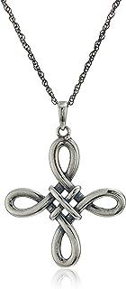 Collar con colgante de cruz de nudo celta de plata de ley oxidada, gris, 45 cm
