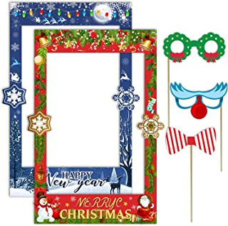 2 in 1 Christmas Photo Booth Prop Frame Merry Christmas Selfie Photo Booth Picture Frame and Props for Christmas and New Year Holiday Party Supplies
