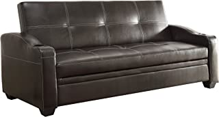 Homelegance Convertible Tufted Sofa Bed with Arm Rest Faux Leather Brown