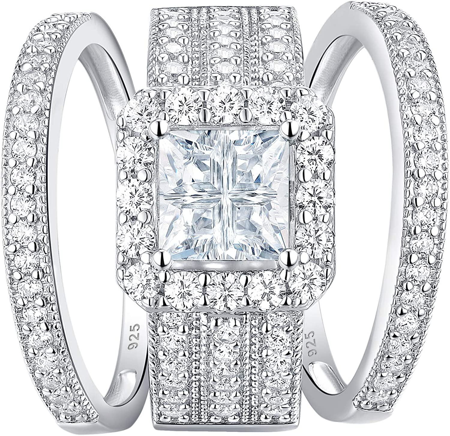 Newshe Engagement Rings for Women Now free shipping Sets Princess New Shipping Free Wedding Ring Ste