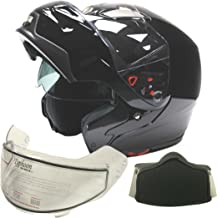 Typhoon Adult Dual Visor Modular Snowmobile DOT Full Face Flip-up Helmet (Gloss Black, Medium)