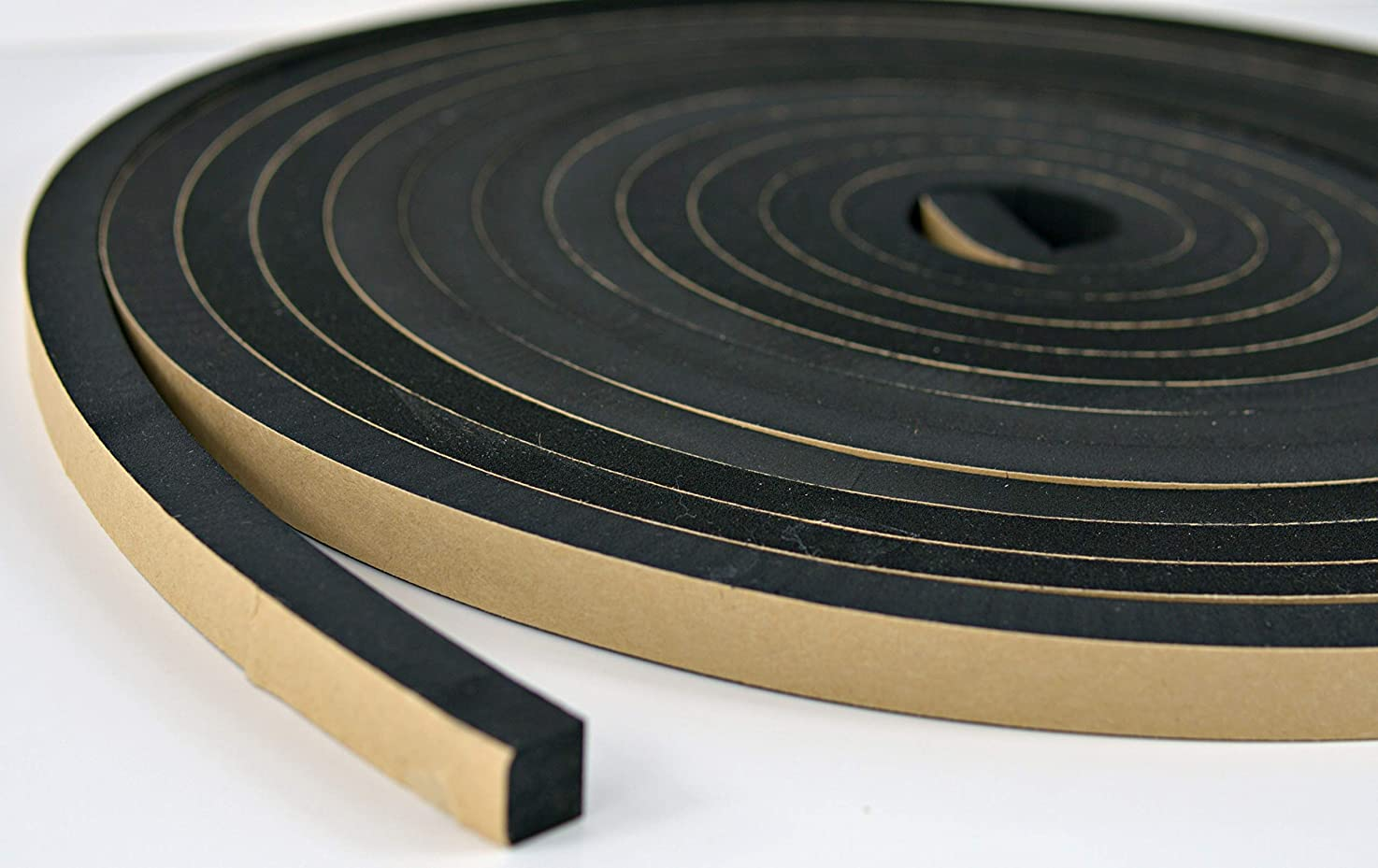 Neoprene Foam Weather Seal High Density Stripping with Adhesive Backing 1/2 Inch Wide 1/2 Inch Thick 25 Feet Long (1/2inch x1/2inch x 25feet)