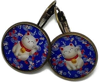 Orecchini retrò cinese gatto cinese portafortuna fascino blu rosso bianco personalizzato regali Natale amici compleanno ce...