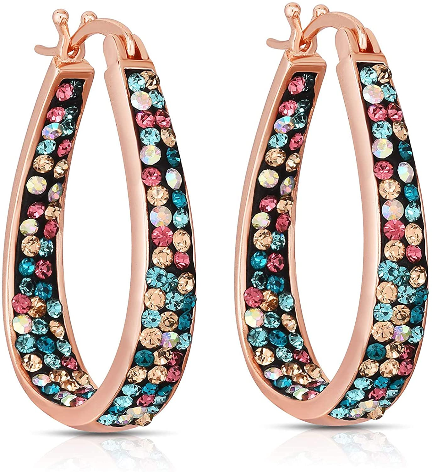 Savlano Inside Out Oval Shape Crystal Hoop Earrings For Women & Girls Comes With Savlano Gift Box