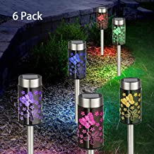 Solar Garden Lights Outdoor - Solar Pathway Light - RGB Color Changing Butterfly Stainless Steel Waterproof LED Landscape Lighting Decoration for Lawn Yard Patio Driveway Walkway(6 Pack Butterfly)