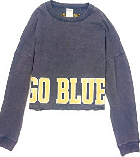 Victoria's Secret Pink Women's Collegiate University of Michigan Wolverines Cropped Sweatshirt Distressed Blue