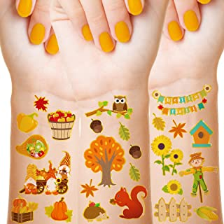 288 Pieces 48 Styles Fall Temporary Tattoos for Kids Autumn Temporary Tattoos Stickers Pumpkin Leaves Scarecrows Fake Tatt...