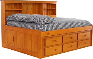 Discovery World Furniture Bookcase Daybed with 6 Drawers, Full, Honey