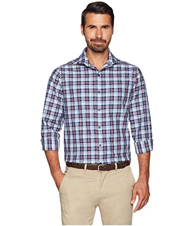 Buttoned Down Big Tall Classic Fit Supima Cotton Cutaway-Collar Dress Casual Shirt (Large Navy/Berry Check) Men