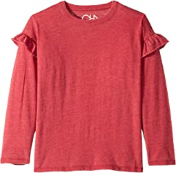 Super Soft Long Sleeve Ruffled Shoulder Dolman Tee (Little Kids/Big Kids)