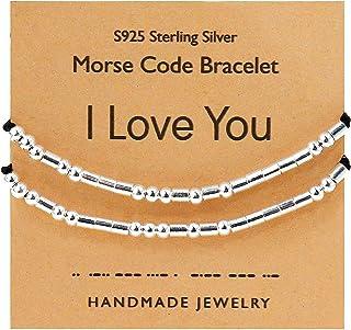 YooAi Bracciale in codice Morse Bracciale in Argento Sterling 2 Pezzi Regalo per Coppia per Donna Uomo Set di Gioielli Fat...