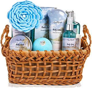 Spa Baskets For Women - Luxury Bath Set With Ocean & Coconut - Spa Kit Includes Wash, Bubble Bath, Lotion, Bath Salts, Body Scrub, Body Spray, Shower Puff, Bathbombs, Soap and Towel, Spa Set