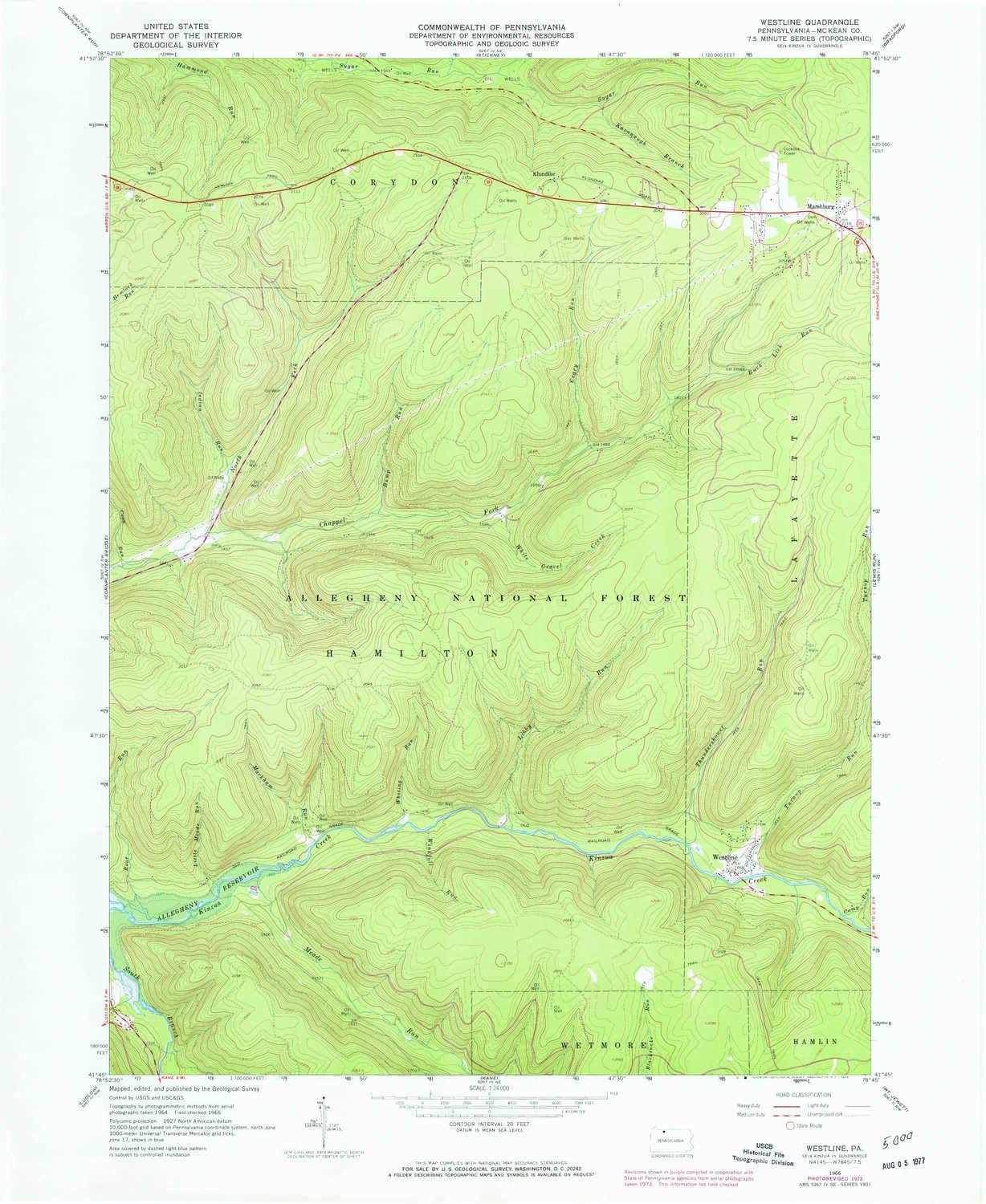 1977 1:24000 Scale 7.5 X 7.5 Minute YellowMaps Pushaw Lake ME topo map 26.8 x 21.5 in Updated 1977 Historical