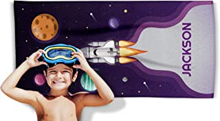 Personalized Beach Towel for Men, Women, Girls or Boys - Design Your Name Towels - Custom Microfiber Pool, Bath and Hand Towel (Space Rocket)