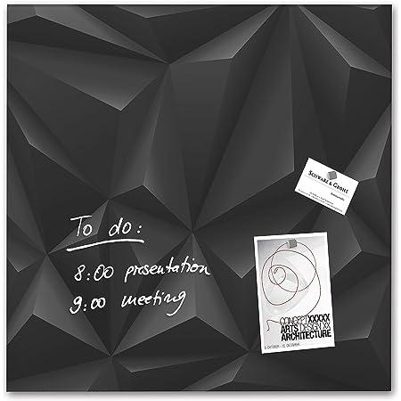 SIGEL GL257 Lavagna magnetica di vetro / bacheca di vetro Artverum, Design Black-Diamond, 48 x 48 cm