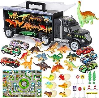 Vanplay Dinosaurus Truck Toy Car Transporter Carrier Set Bevat een Dinosauruspop met een Speelgoedkussen en een Mini-Racer...