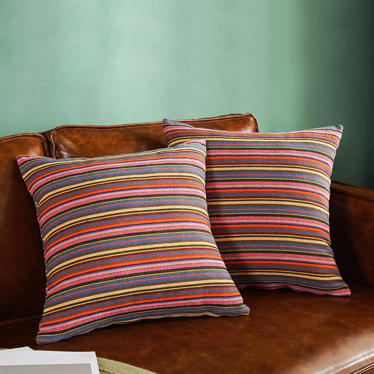 AmHoo Bohemian Retro Stripe Throw Pillow Covers Boho Ethnic Double-Sided Pattern Set of 2 Pillowcase for Couch Sofa Bed Livingroom 16x16Inch Pink Orange