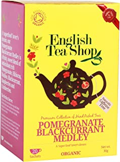 English Tea Shop Pomegranate Blackcurrant Medley Tea Bags, 30 Gram (Pack of 6)