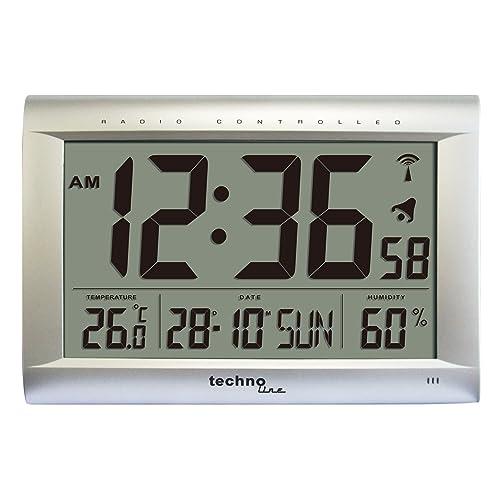 Technoline WS 8009 - Reloj de pared controlado por radio, color plateado