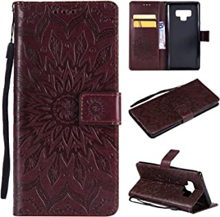 A-slim Samsung Note 9 case,Note 9 Wallet case,PU Leather Case Sun Flower Pattern Embossed Purse with Kickstand and Flip Cover Card Holders & Hand Strap for Samsung Galaxy Note 9 2018 (6.4inch) Brown