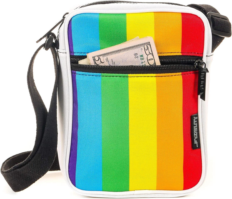 FYDELITY Sling Side Shoulder Bag Small Crossbody Waist Hip Sack -Rainbow Stripe