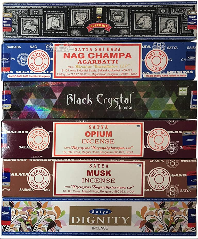 フィドル増強るNag Champa 6ピース バラエティーパック ナグチャンプ スーパーヒット ブラッククリスタル オピウム ムスク ディグニティ