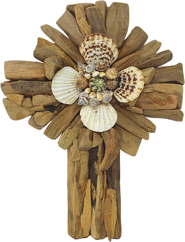 Driftwood Cross with Seashells Christian House Beach Max 48% OFF Home Cheap bargain Decor
