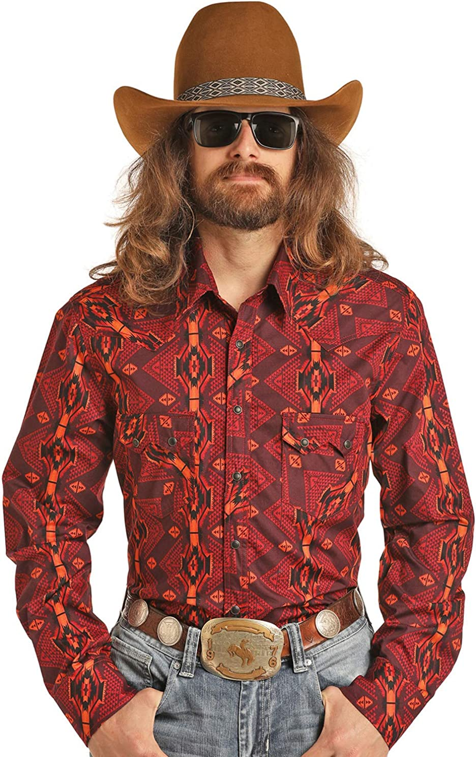 Rock and Roll Cowboy B2S3080 Men's Long Sleeve Snap Front Top
