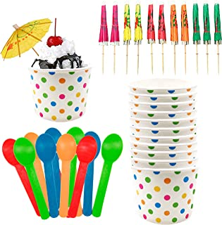 Ice Cream Sundae Kit - 12 Ounce Polka Dot Paper Treat Cups - Heavyweight Plastic Spoons - Paper Umbrellas - 12 Each Pink Orange Yellow Green Blue