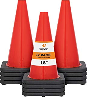 Xpose Safety 18 Inch Orange Traffic Cones, Multipurpose PVC Plastic Safety Cone for Parking, Soccer, Caution, Kids and Construction