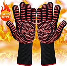 SPECHOME BBQ Gloves,Grilling Gloves, 1472°F Extreme Heat Resistant Grill Gloves Non-Slip Oven Mitts Potholder, Perfect for Barbecue, Cooking, Baking, Fireplace, Smoker - 1 Pair