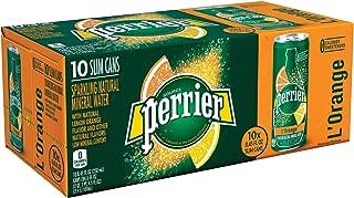 Perrier Flavored Sparkling Mineral Water, L'Orange/Lemon Orange, 8.45 Oz, Pack of 30 Slim Cans