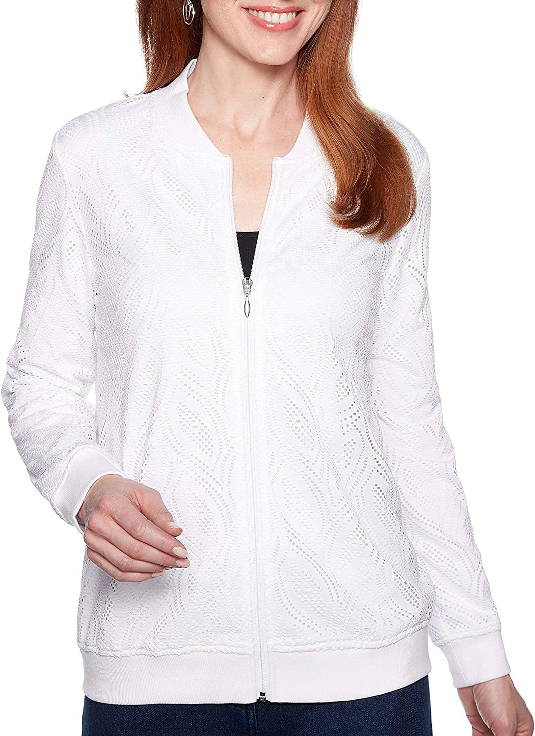 Alfred Dunner Womens Smooth Sailing Textured Knit Jacket